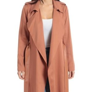 Badgley Mischka Faux Leather Trim Long Trench Coat